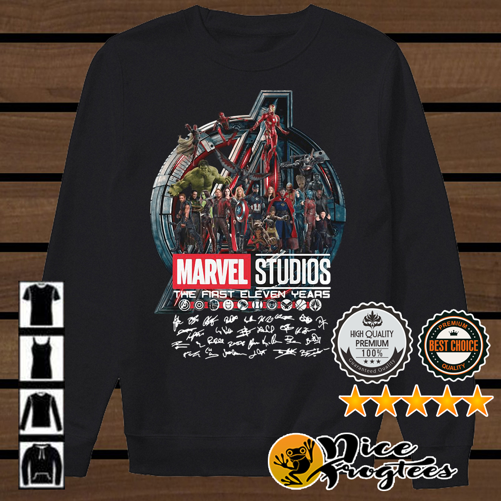 Marvel studios the first eleven years all characters' signature Avengers shirt