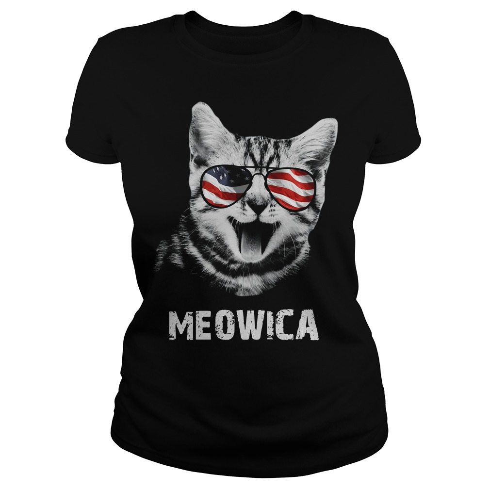 Meowica 4th of July American Flag Ladies tee