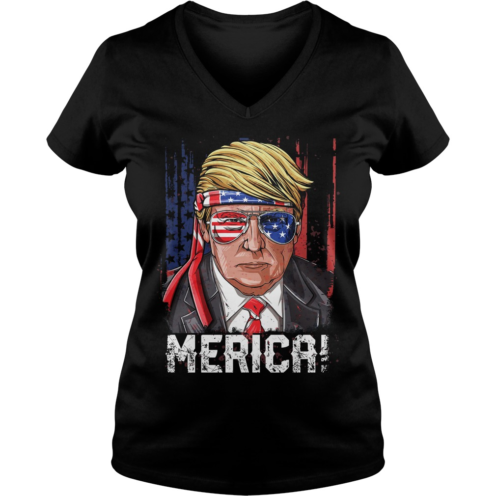 Merica Donal Trump 4th of July American Flag V-neck t-shirt
