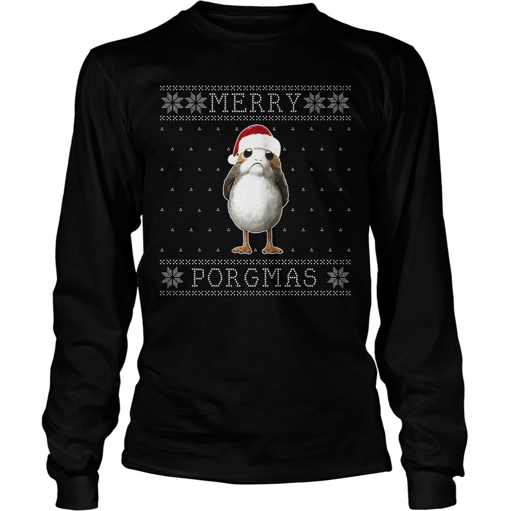 Merry Porgmas Christmas Porg Knit Pattern Star Wars sweater and shirt