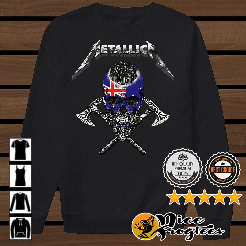Metallica Viking skull New Zealand flag shirt