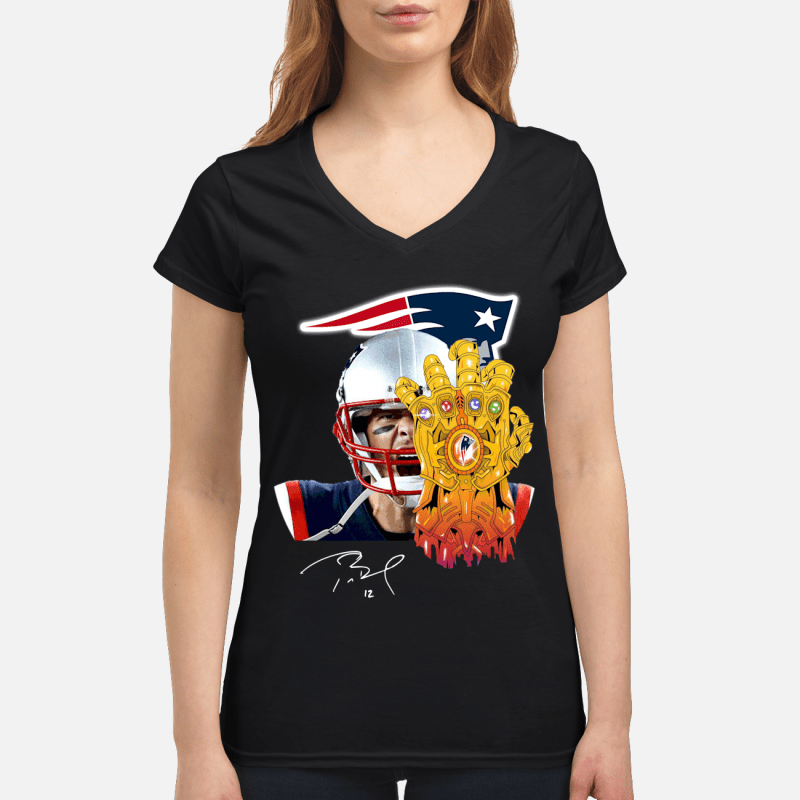 New England Patriots Tom Brady Thanos V-neck t-shirt
