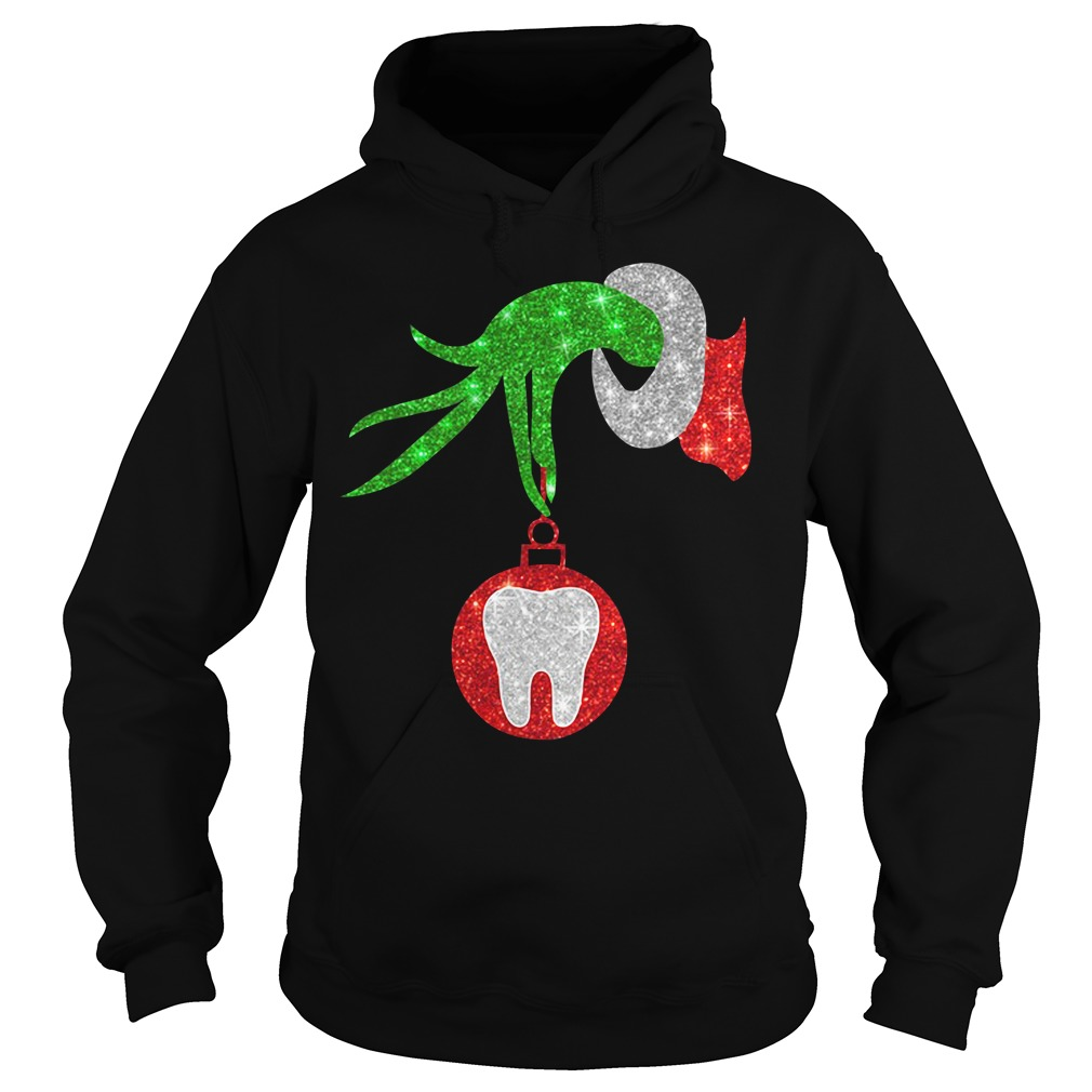 Christmas Nurse Grinch hand holding clinic dental ornament Hoodie