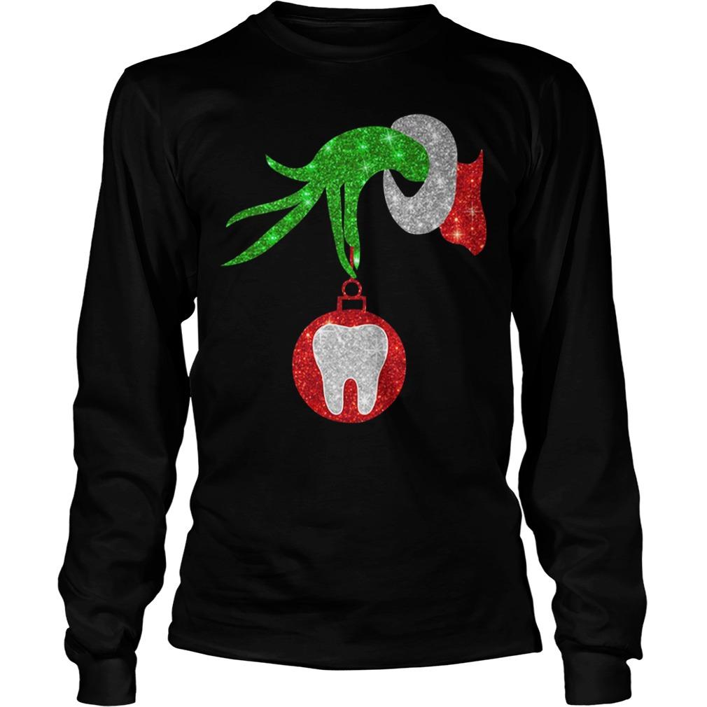 Christmas Nurse Grinch hand holding clinic dental ornament Longsleeve tee