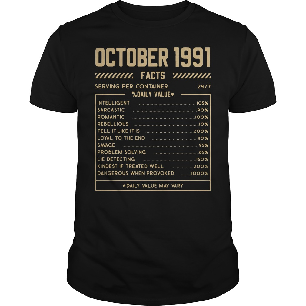 October 1991 facts serving per container shirt