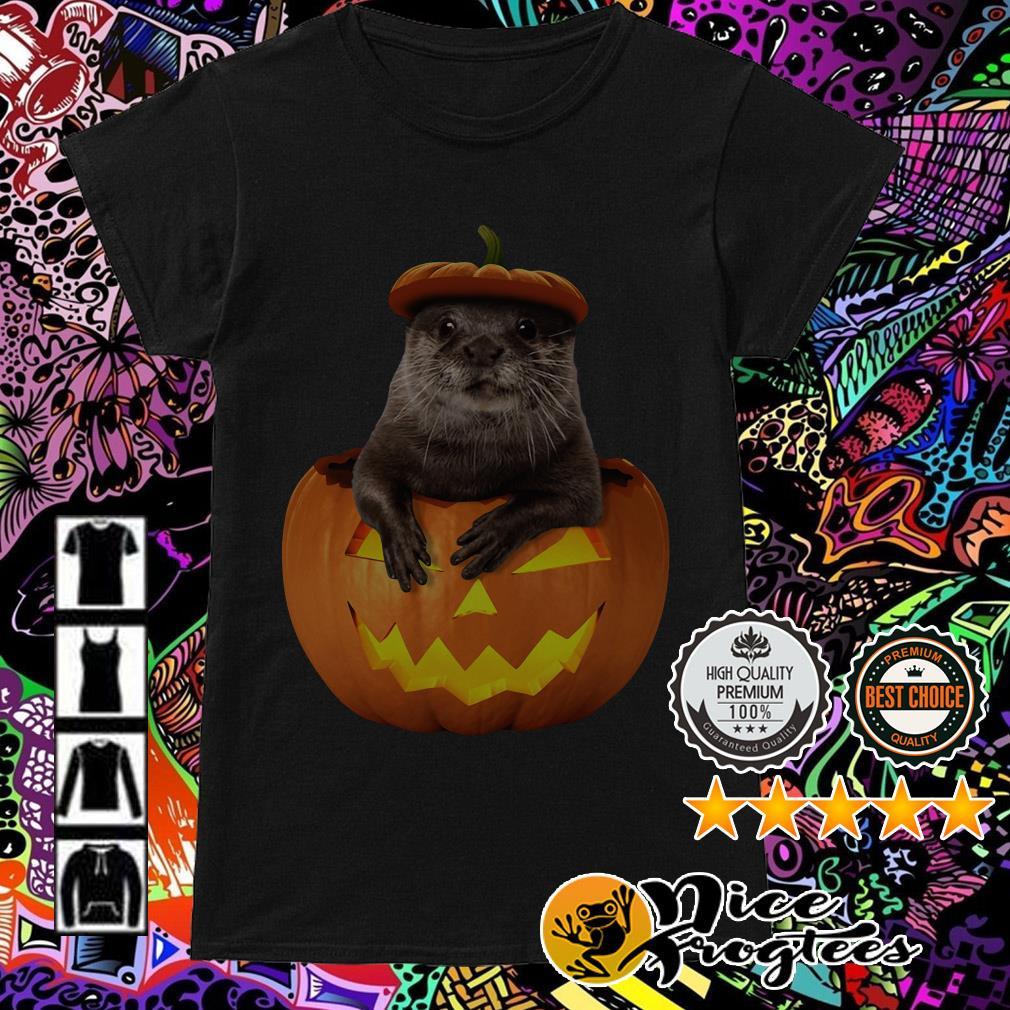 Otter in Pumpkin Halloween Ladies Tee