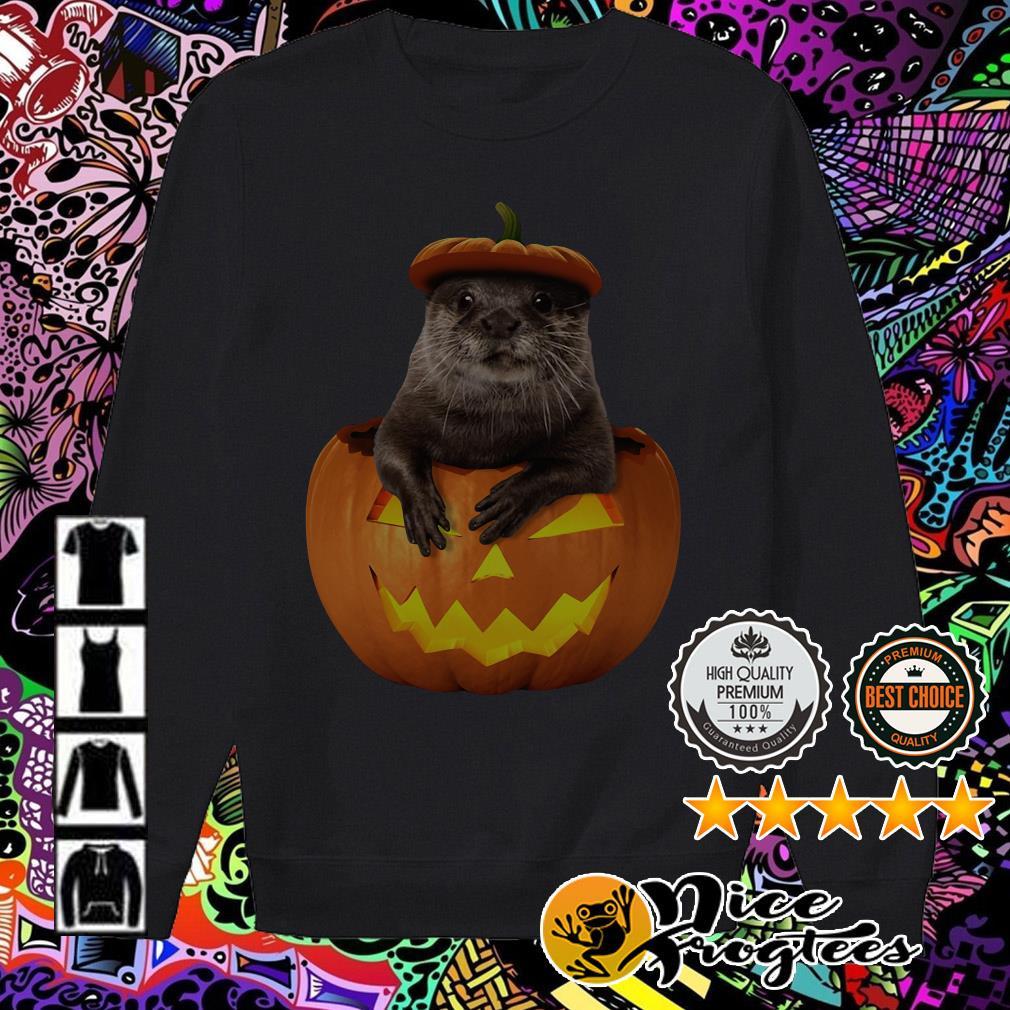 Otter in Pumpkin Halloween Sweater