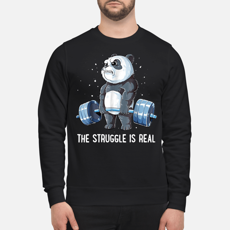 Panda doing weight lifting the struggle is real Sweater