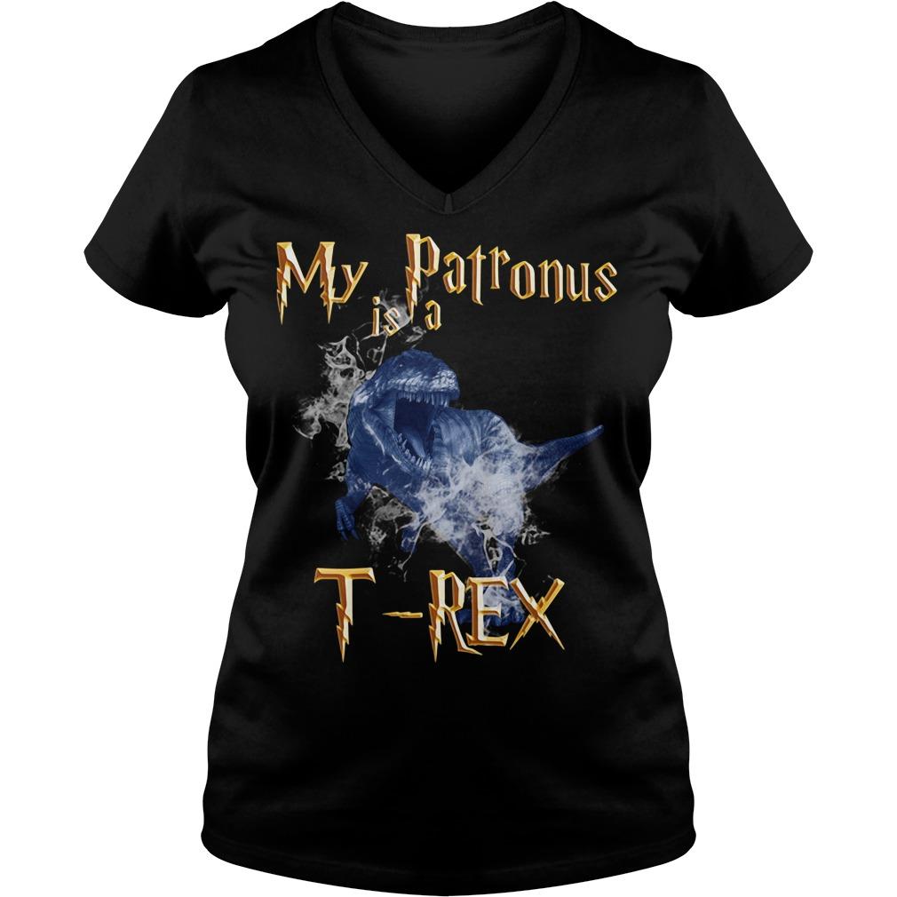My Patronus is a T-Rex V-neck T-shirt