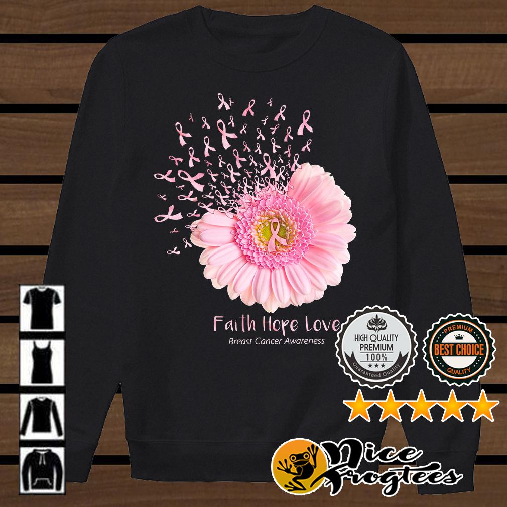 Pink daisy faith hope love breast cancer awareness shirt