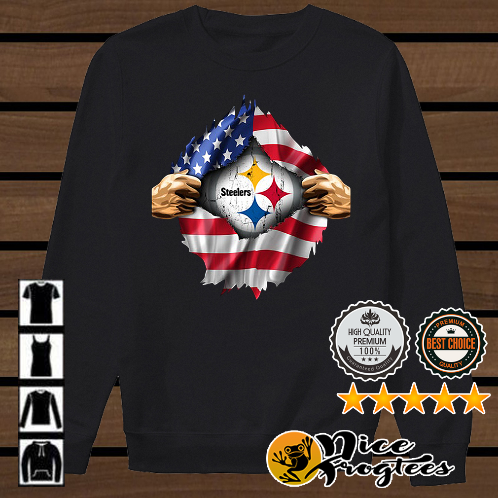 Pittsburgh Steelers inside America flag Independence day 4th of July shirt