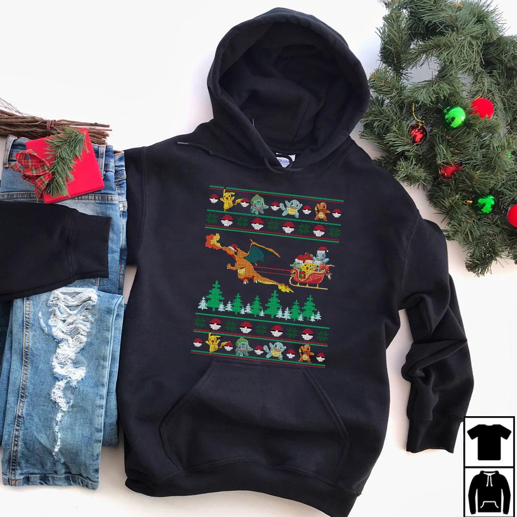 Pokemon Christmas Sweater.Christmas Santa Charizard Sleigh Pokemon Sweater Shirt And