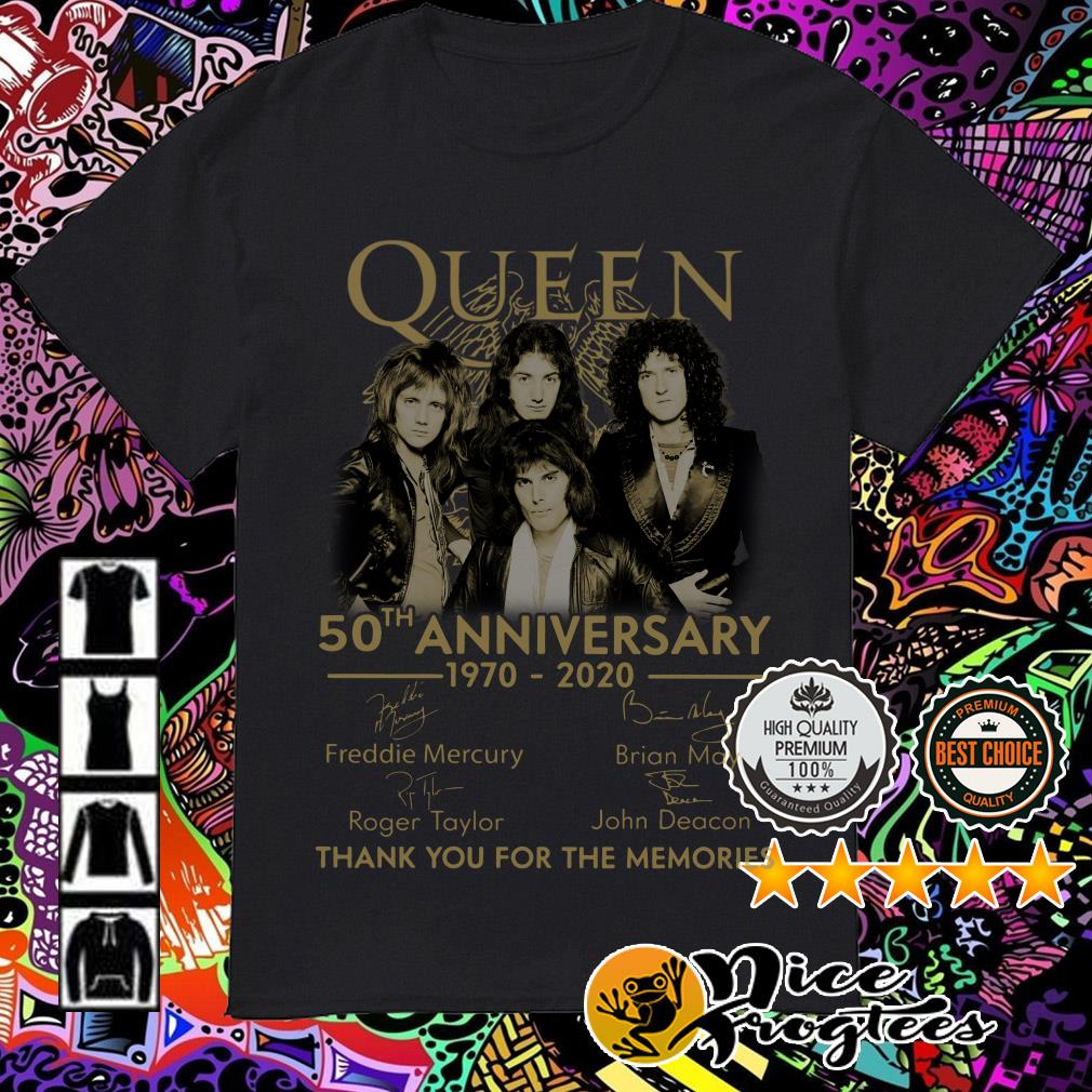 Queen 50th Anniversary 1970-2020 signatures thank you for the memories shirt