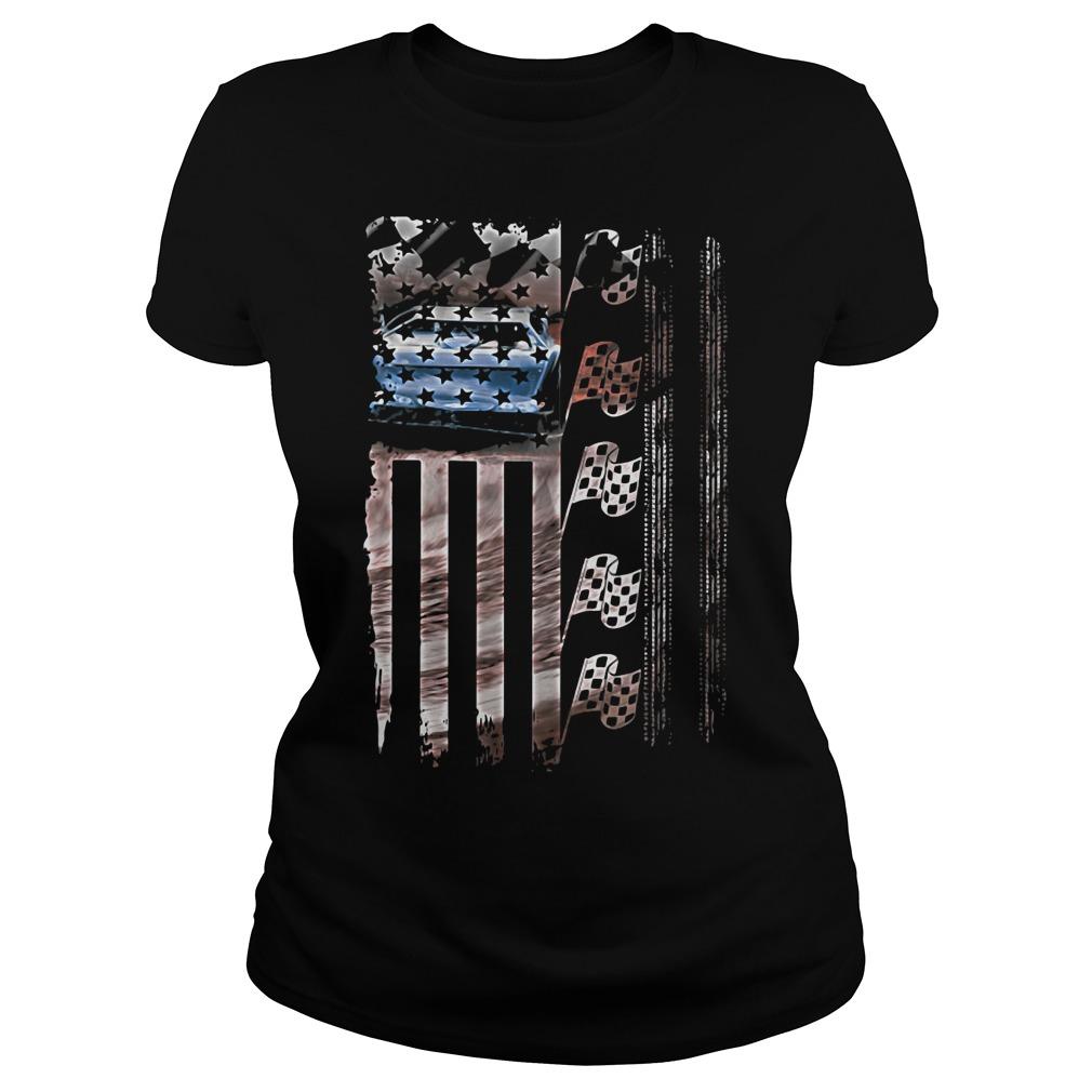 Racing American flag Ladies tee
