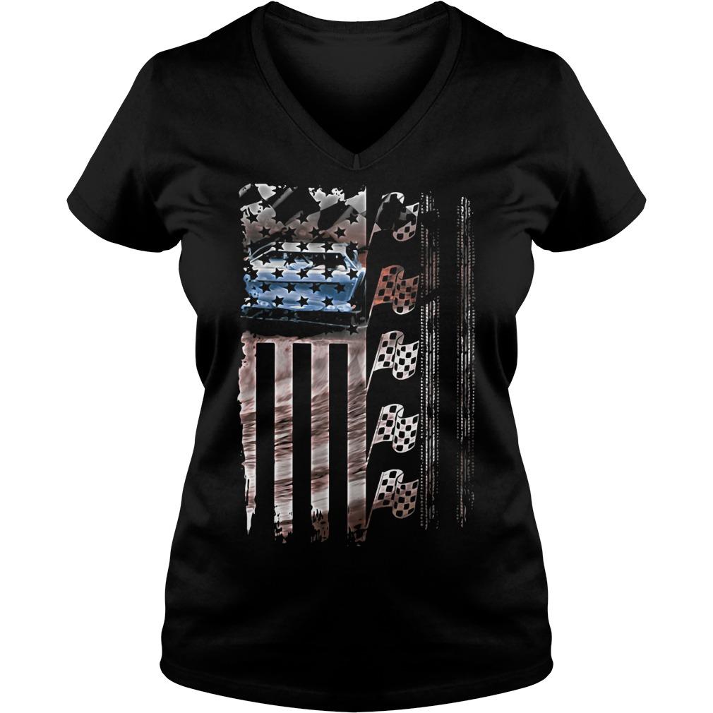 Racing American flag V-neck t-shirt