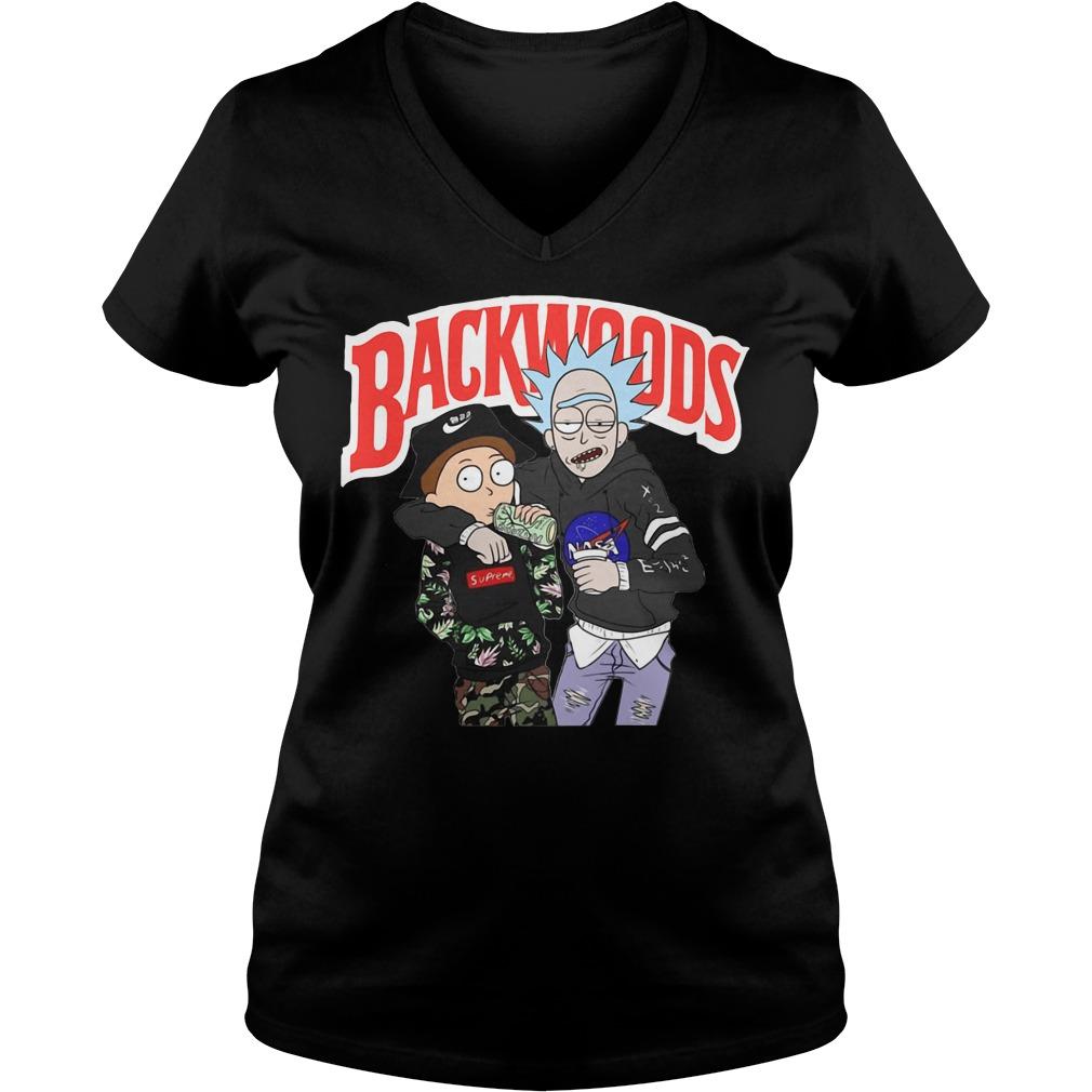 Rick and Morty backwoods V-neck t-shirt