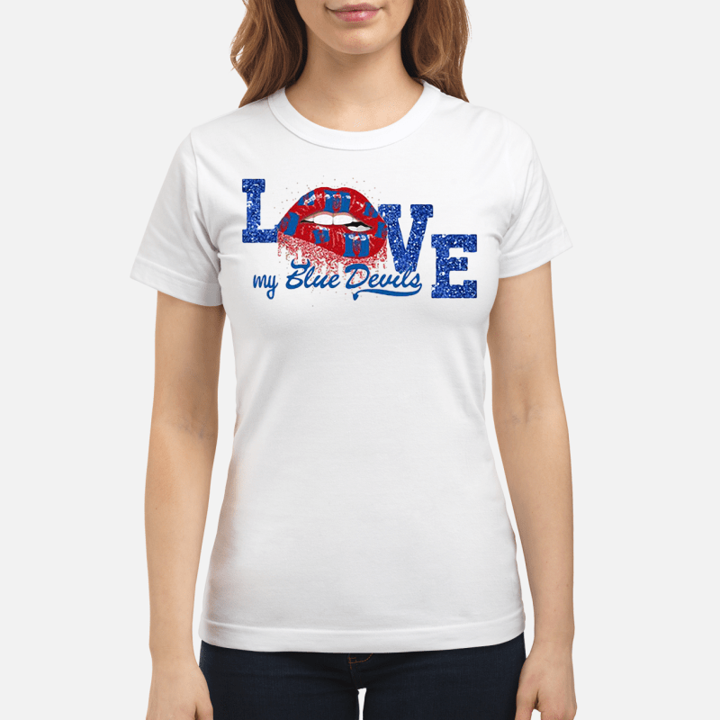 Rocky Horror Lips love my Blue Devils Drum and Bugle Corps Ladies tee