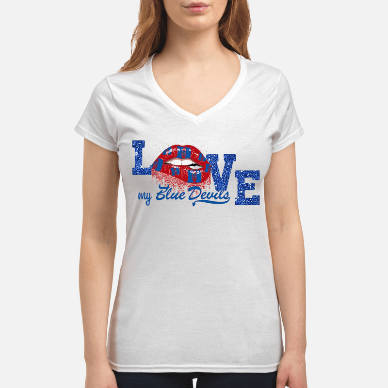 Rocky Horror Lips love my Blue Devils Drum and Bugle Corps V-neck t-shirt