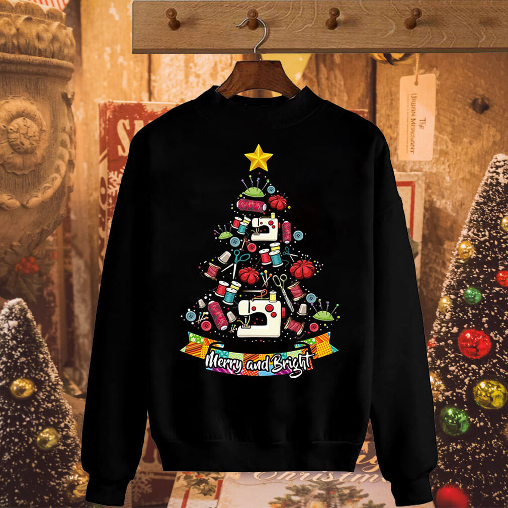 Sewing tools Christmas tree Merry and Bright sweater