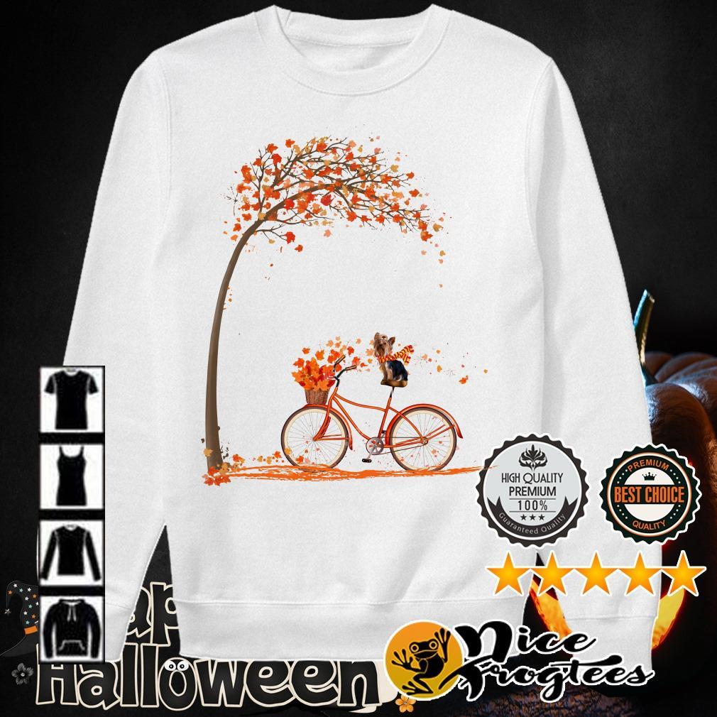 Shih Tzu riding bicycle Autumn leaf tree shirt