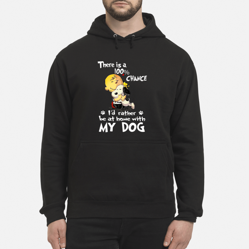 Snoopy and Charlie Brown there is a 100% chance I'd rather be at home with my dog Hoodie