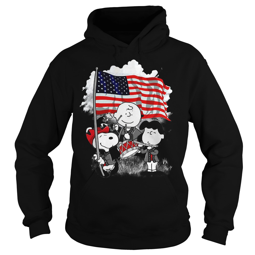 Snoopy Charlie Brown and Lucy with American flag Hoodie