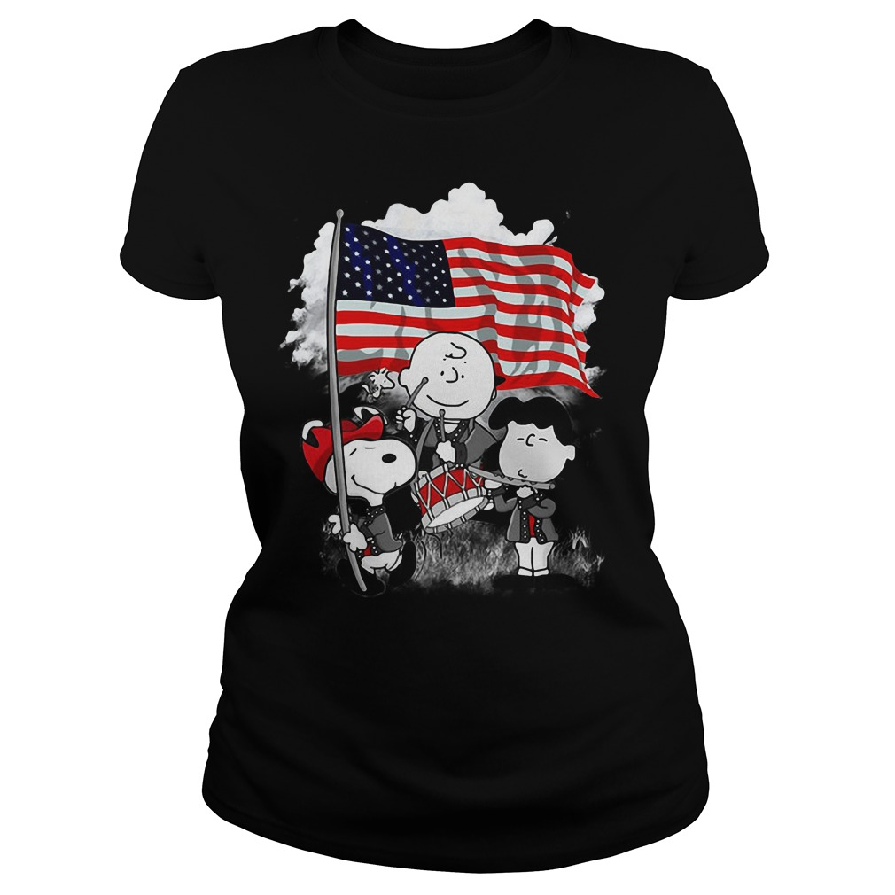 Snoopy Charlie Brown and Lucy with American flag Ladies tee