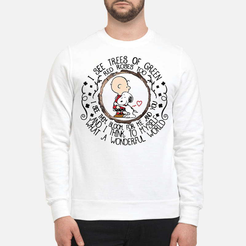 Snoopy and Charlie Brown I see trees of green red roses too I see them bloom Sweater