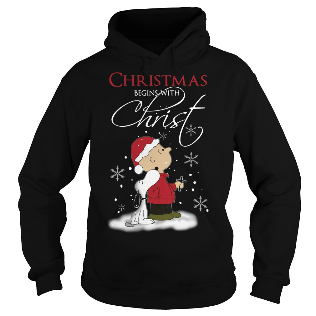 Snoopy and Charlie Christmas begins with Christ Hoodie