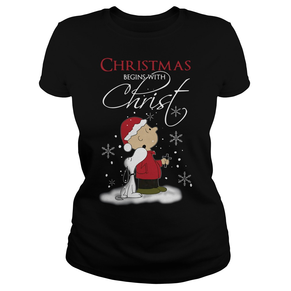 Snoopy and Charlie Christmas begins with Christ Ladies Tee