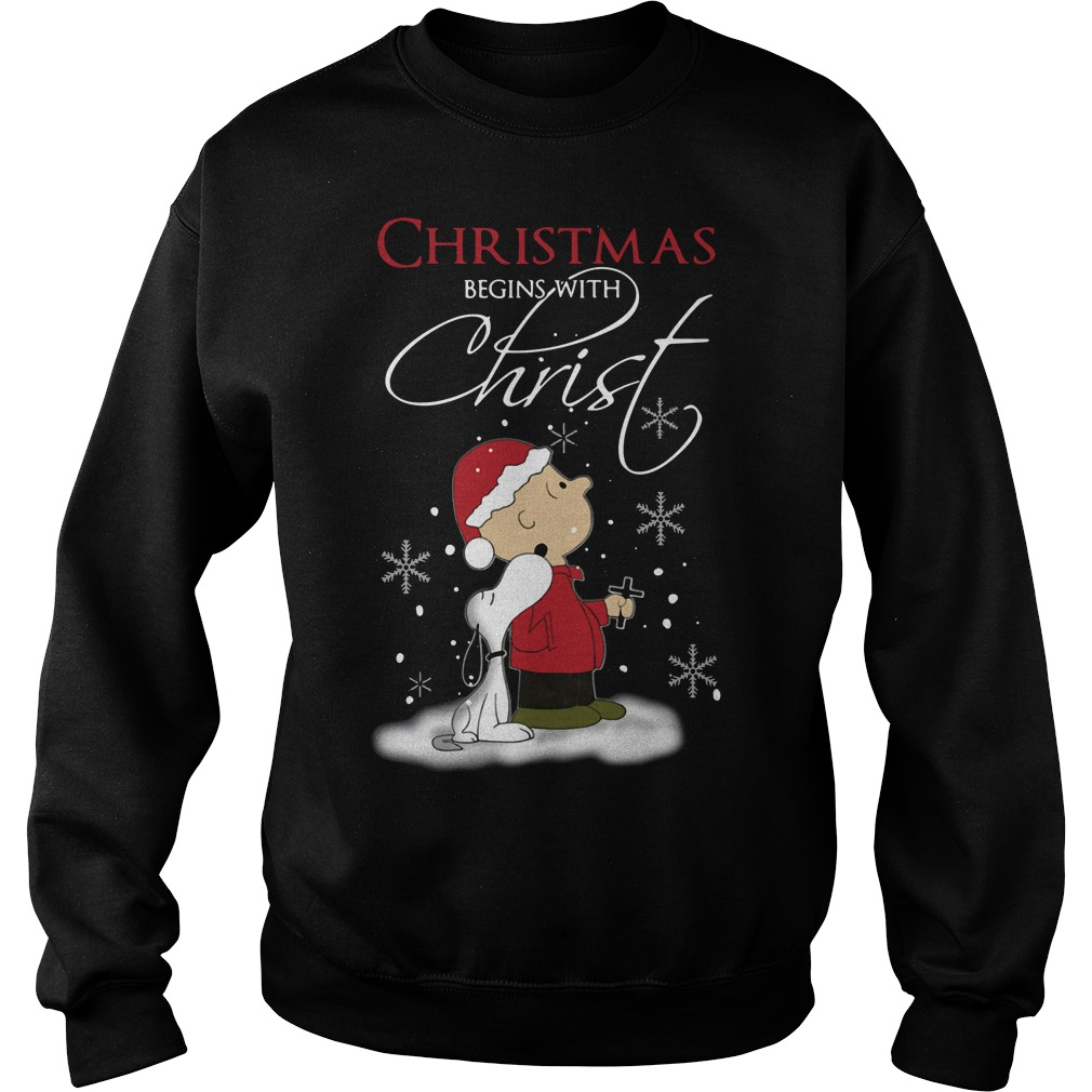 Snoopy and Charlie Christmas begins with Christ Sweater