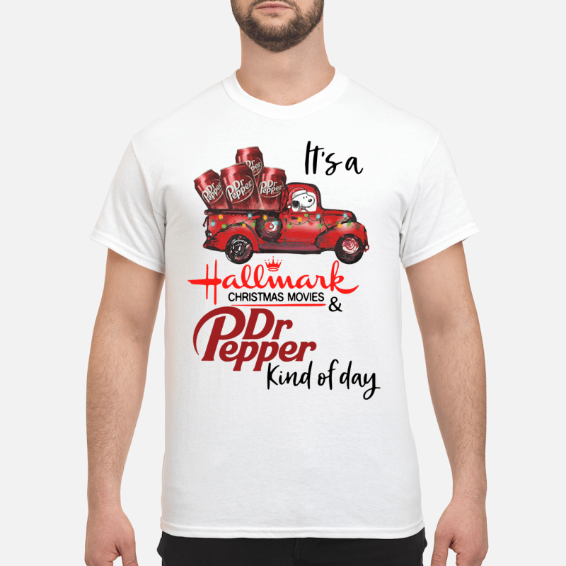 Snoopy It's a Hallmark Christmas movies and Dr Pepper kind of day Guys shirt