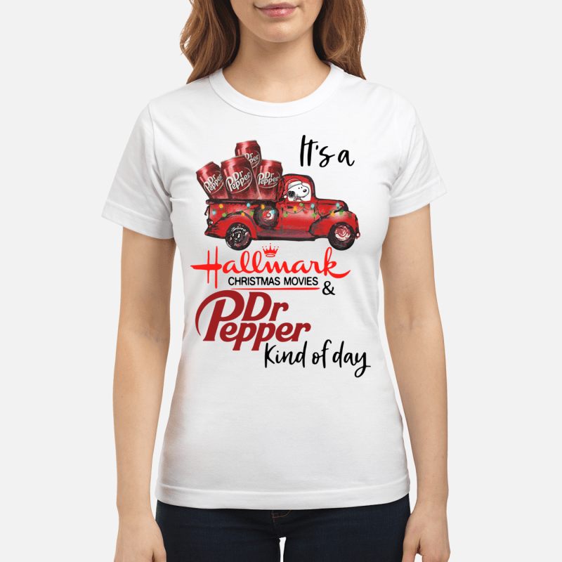 Snoopy It's a Hallmark Christmas movies and Dr Pepper kind of day Ladies tee