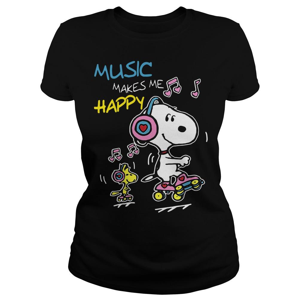 Snoopy music makes me happy Ladies tee