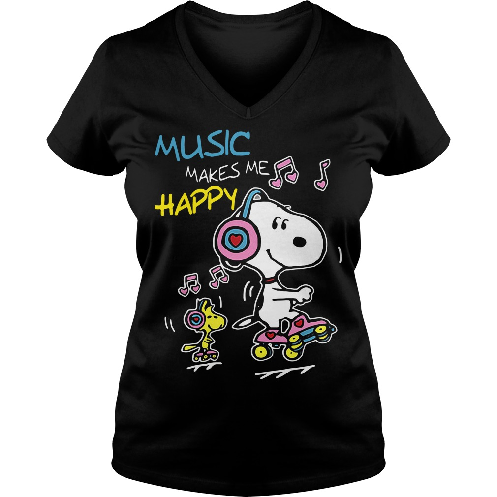 Snoopy music makes me happy V-neck t-shirt