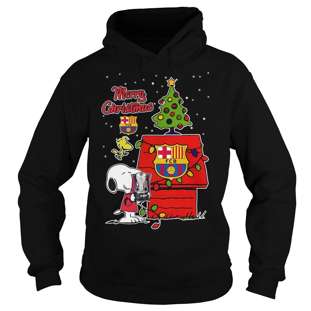 Snoopy Woodstock Barcelona Merry Christmas Hoodie