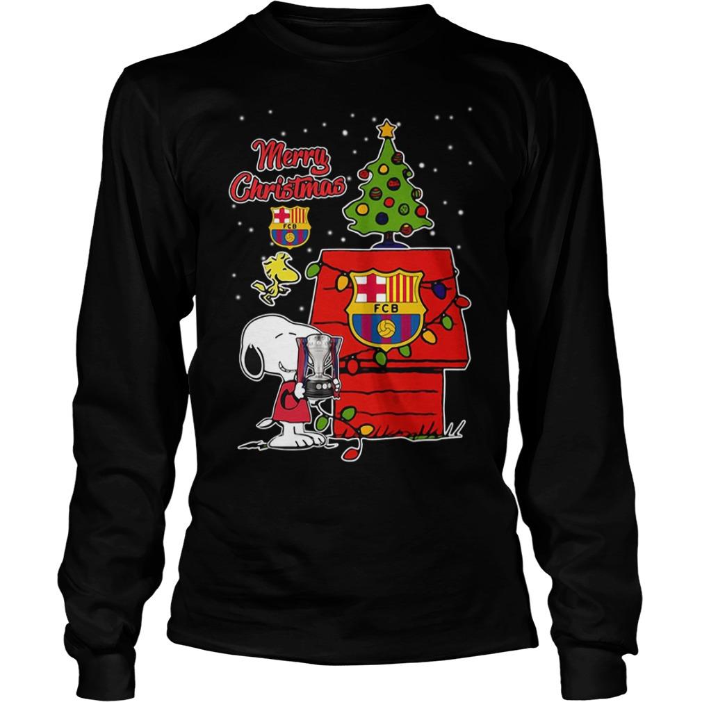 Snoopy Woodstock Barcelona Merry Christmas Longsleeve Tee