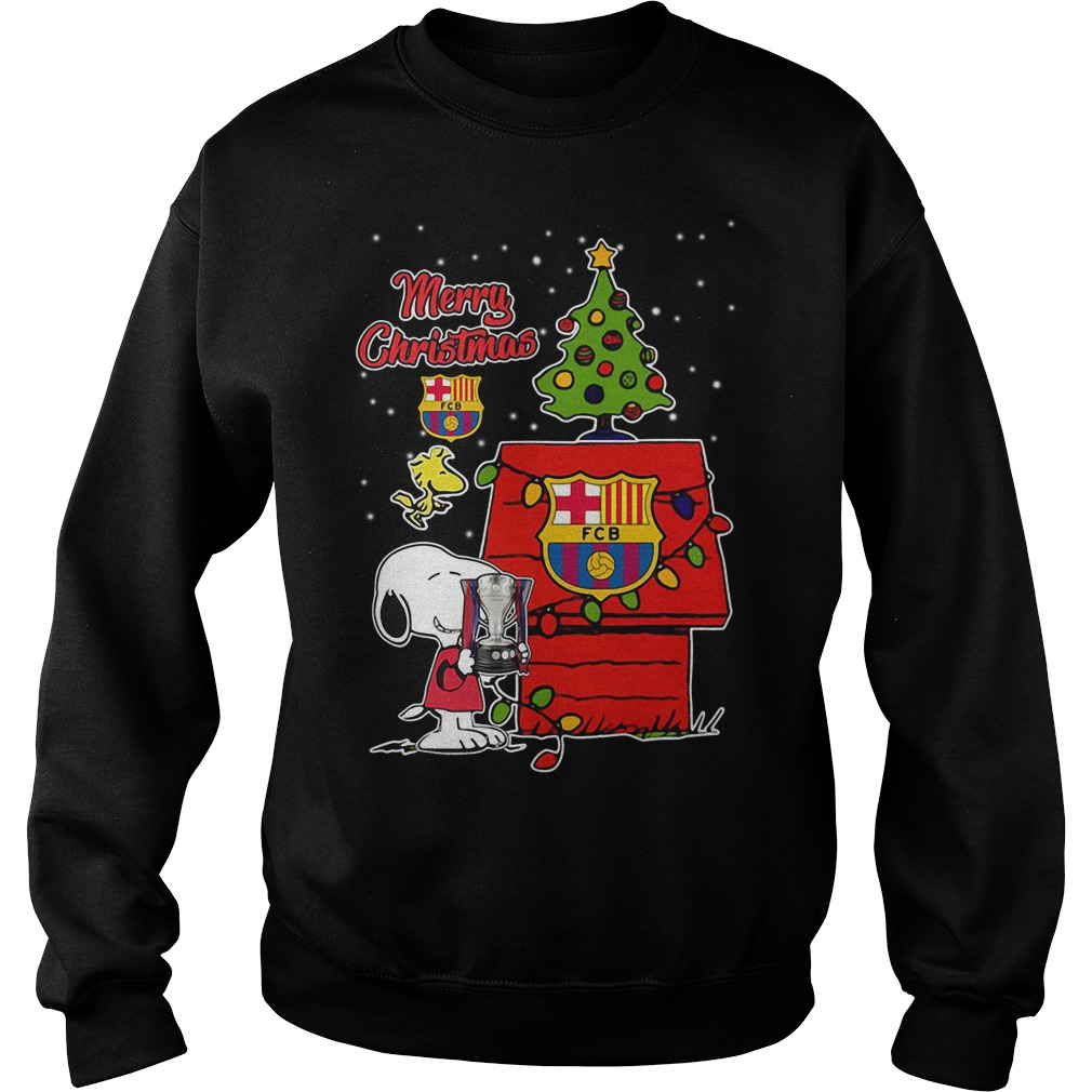 Snoopy Woodstock Barcelona Merry Christmas Sweater