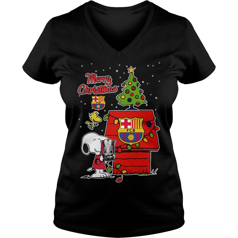 Snoopy Woodstock Barcelona Merry Christmas V-neck T-shirt
