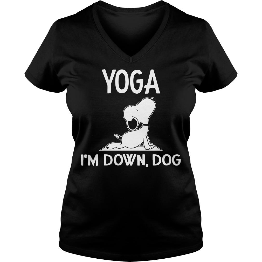 Snoopy – Yoga I'm down dog V-neck t-shirt