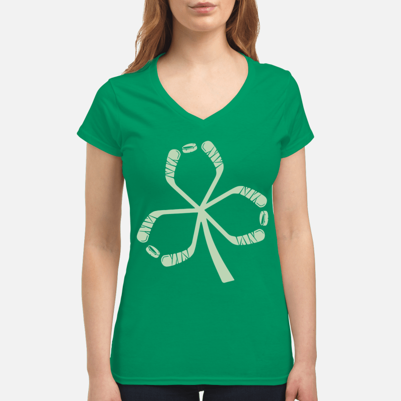St Patrick's Day hockey V-neck t-shirt