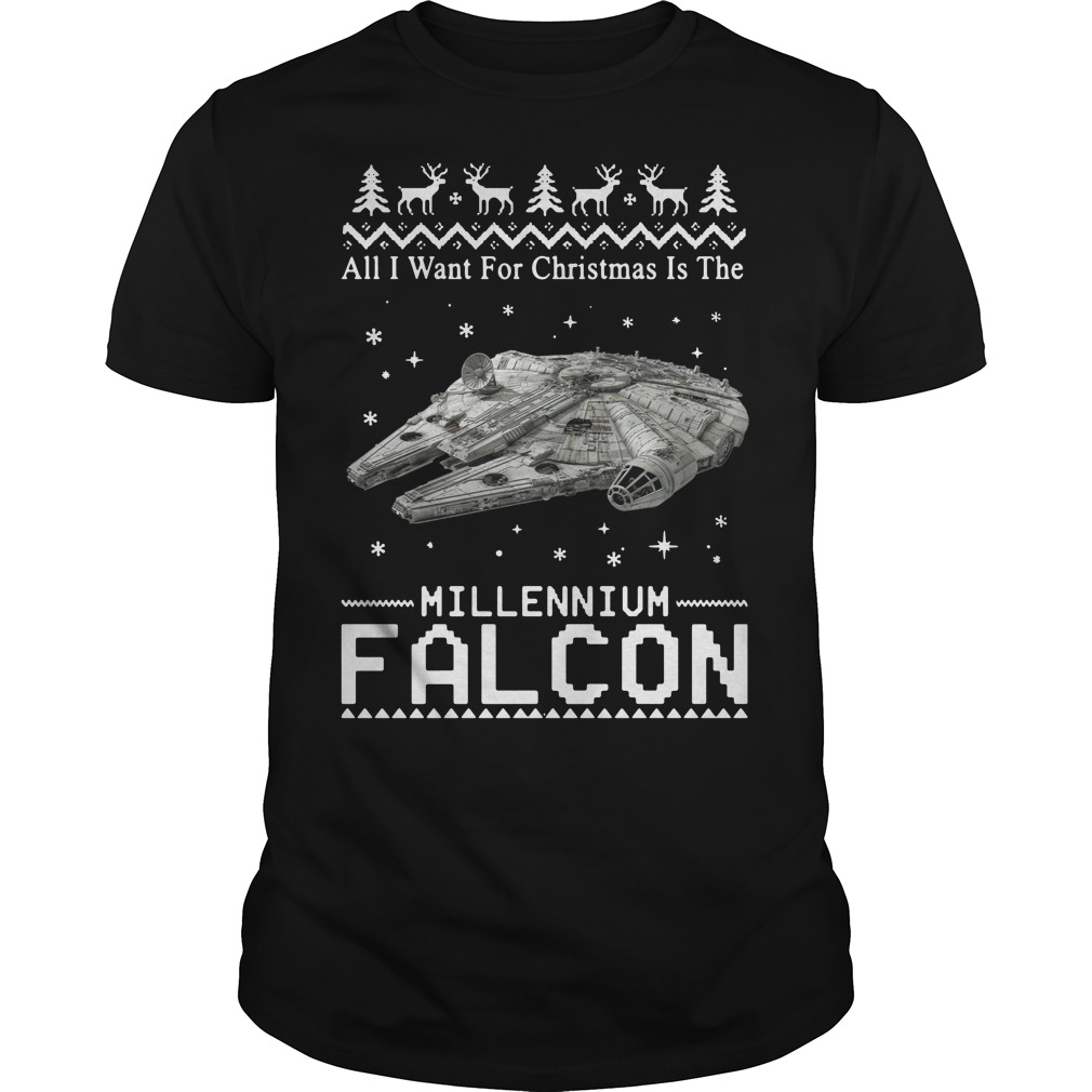 Star Wars All I want for Christmas is the Millennium Falcon Guys shirt