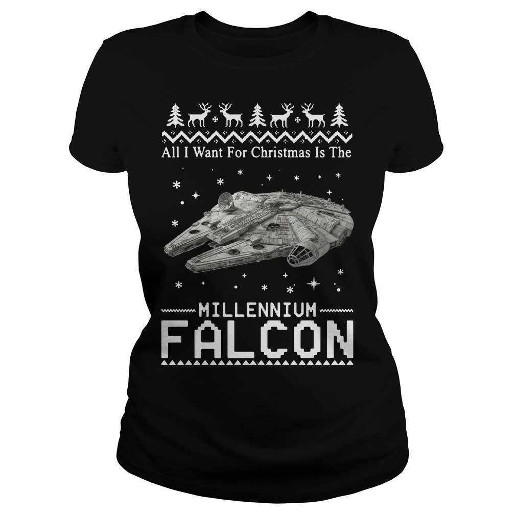Star Wars All I want for Christmas is the Millennium Falcon Ladies tee