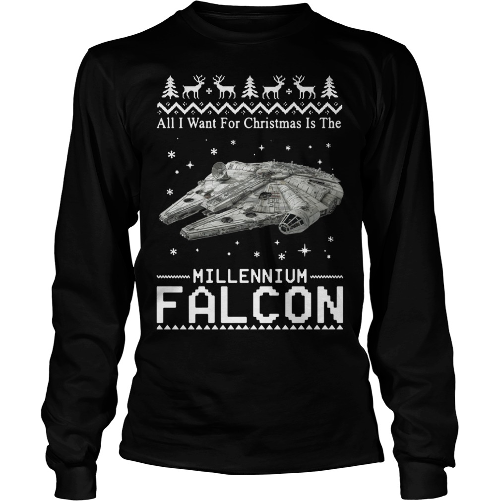 Star Wars All I want for Christmas is the Millennium Falcon Longsleeve tee