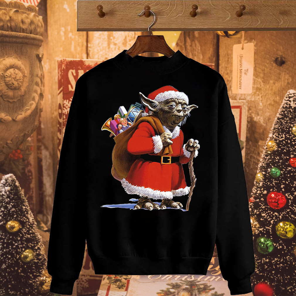 Star Wars Yoda Dressed as Santa Claus ugly Faux Christmas sweater