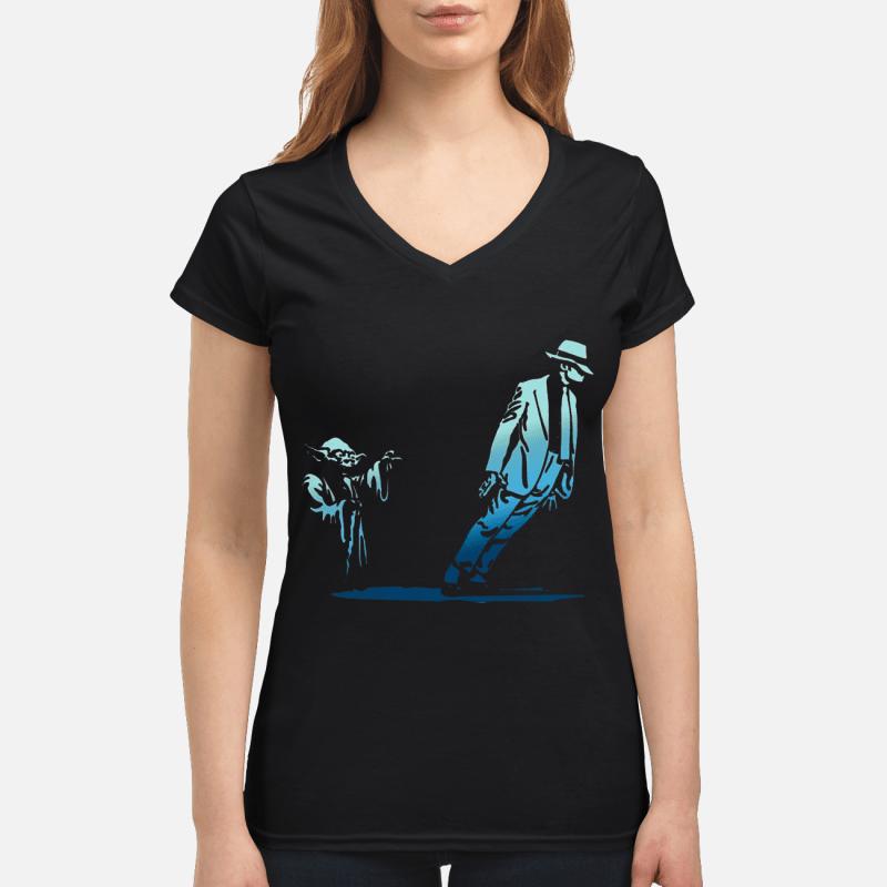 Star Wars Yoda Seagulls and Michael Jackson V-neck t-shirt
