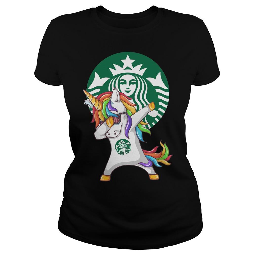 Starbuck Unicorn Dabbing Ladies tee