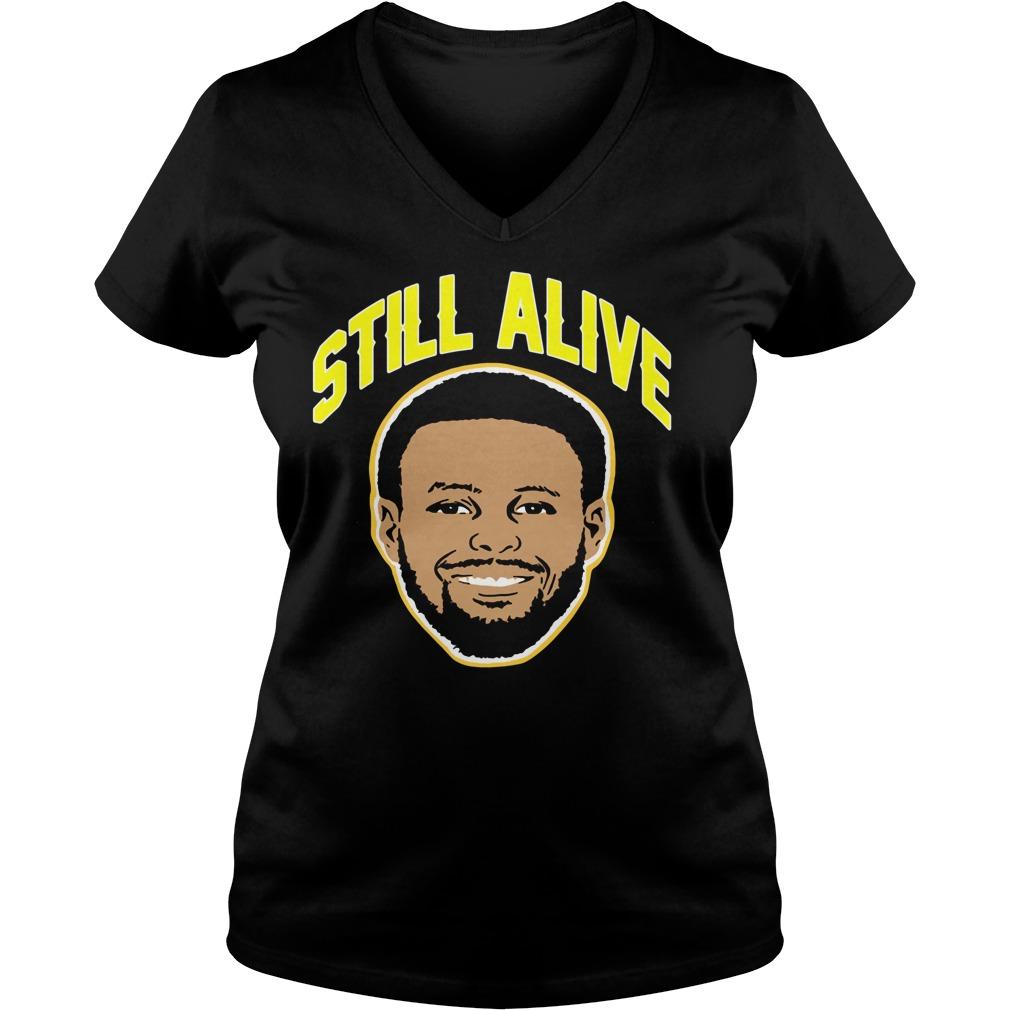 Steph Curry still alive Golden State Warriors V-neck t-shirt