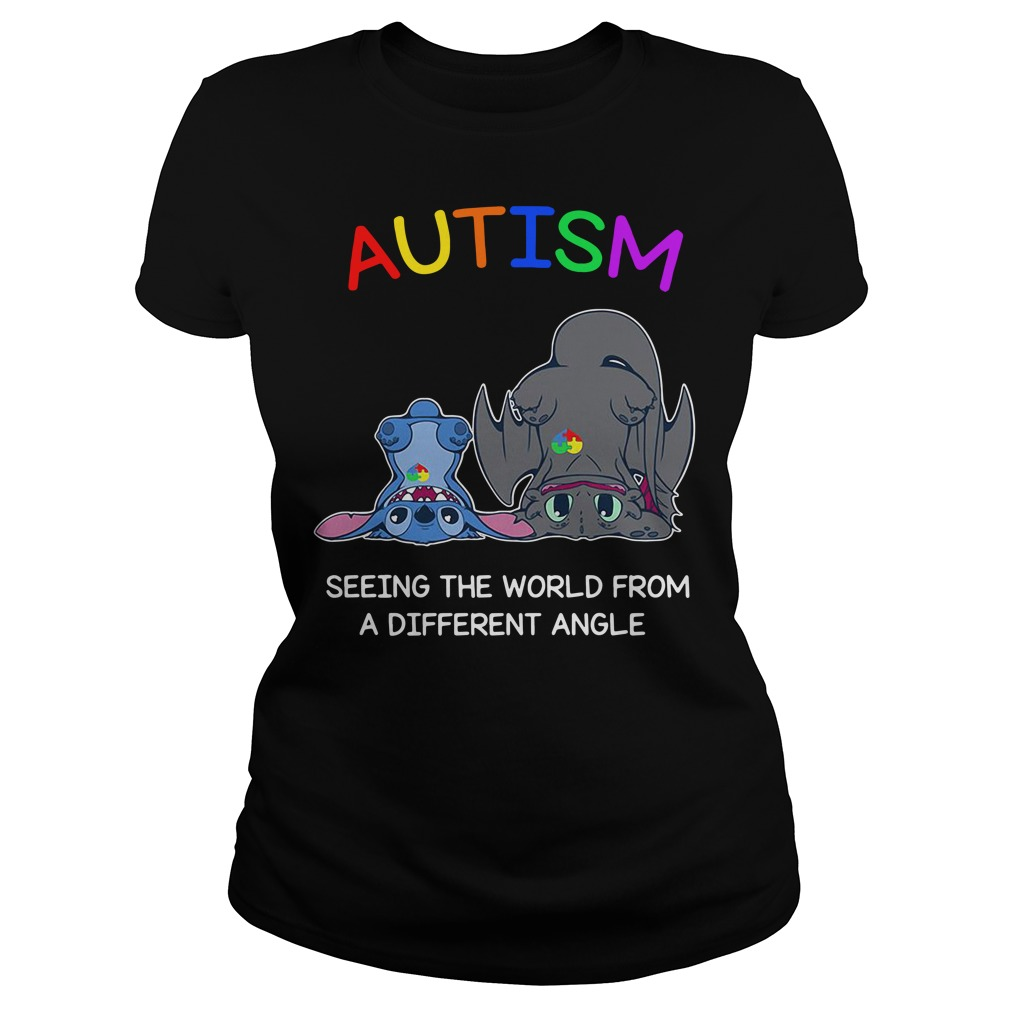 Stitch and Toothless Autism seeing the world from a different angle Ladies tee