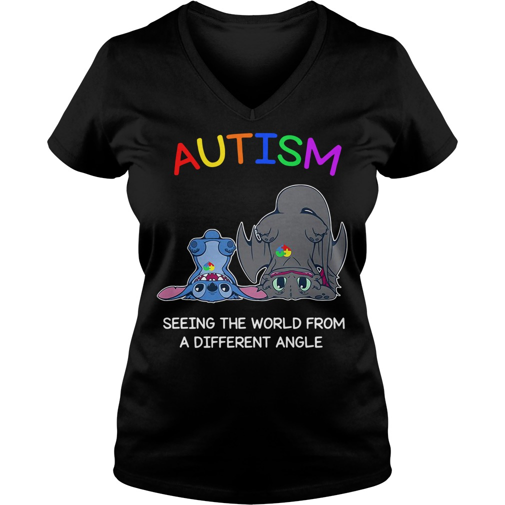 Stitch and Toothless Autism seeing the world from a different angle V-neck t-shirt